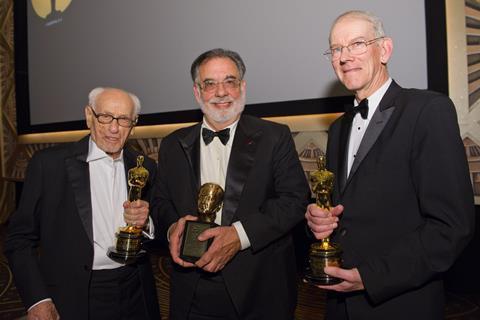 Honorary Award recipient Eli Wallach, Irving G. Thalberg Memorial Award recipient Francis Ford Coppola (center) and Honorary Award recipient Kevin Brownlow at the 2010 Governors Awards in Hollywood on November 13.